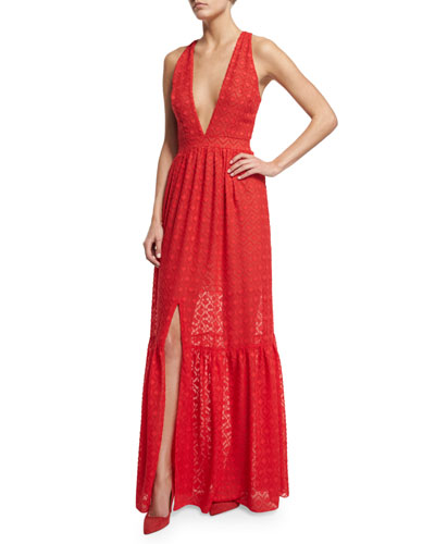 Sleeveless Plunging V-Neck Tiered Maxi Dress, Flame
