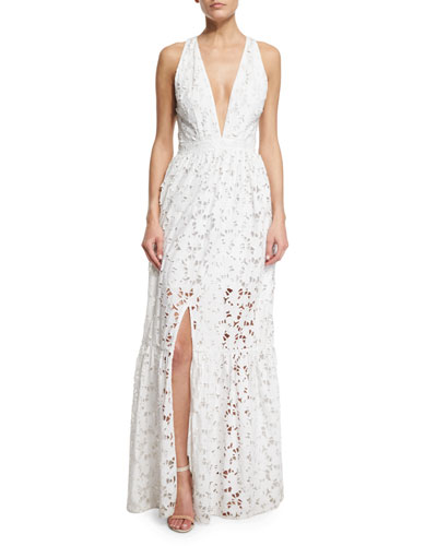 Sleeveless Plunging V-Neck Tiered Maxi Dress, Ivory