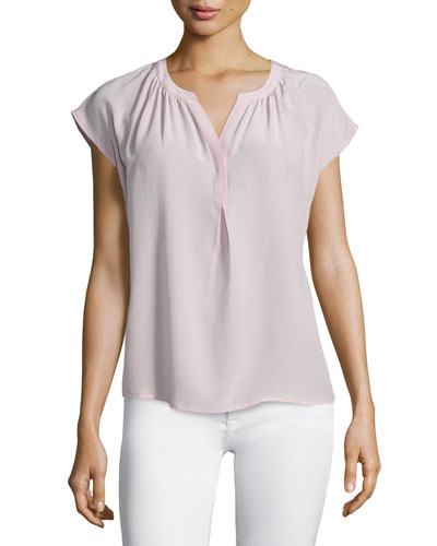 Pietro Cap-Sleeve Silk Top