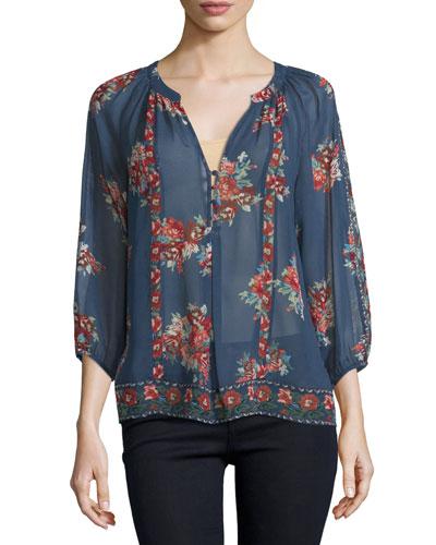 Gloria F Floral-Print Silk Top