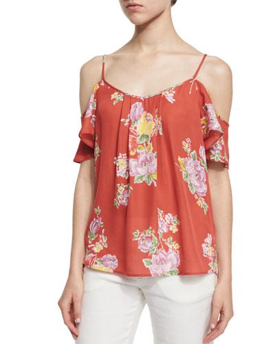 Adorlee Floral-Print Cold-Shoulder Top