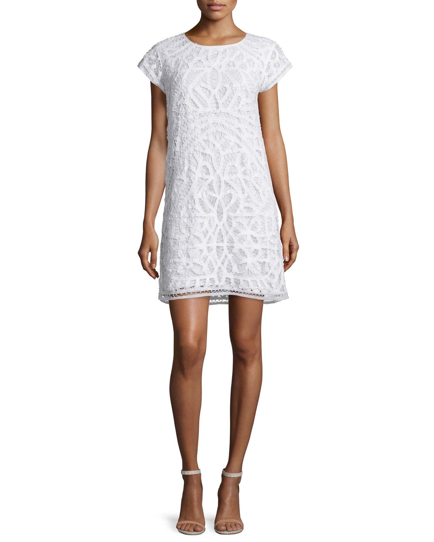 Tabbetha Crocheted Cap-Sleeve Dress