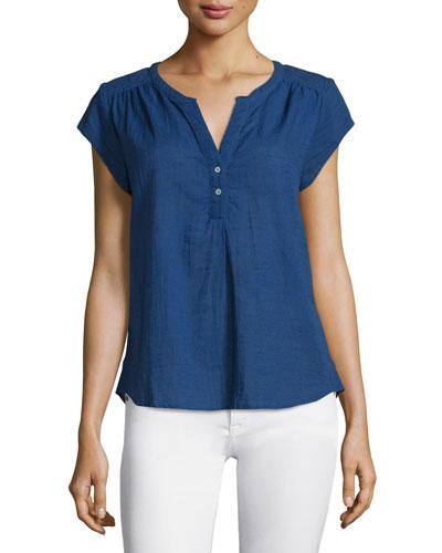 Altadena Yarn-Dyed Short-Sleeve Top