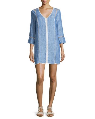 Warby Washed Denim Contrast-Stitch Dress