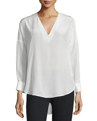 Dropped-Shoulder V-Neck Top, White
