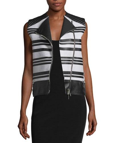 Sleeveless Asymmetric-Zip Leather Waistcoat, Black/White