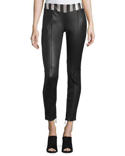 Snakeskin-Waist Leather Pants, Black