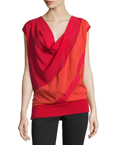 Cap-Sleeve Draped Two-Tone Top, Red