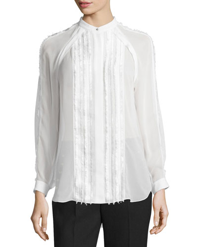 Long-Sleeve Pintucked Fil Coupe Blouse, Antique White