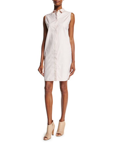 Sleeveless Poplin Shirtdress, Phantom Blue