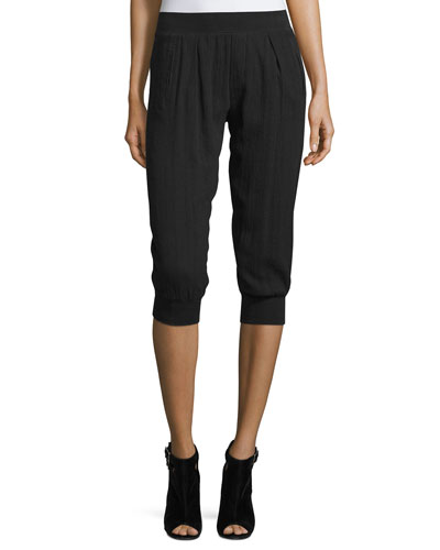 Cotton Gauze-Knit Capri Pants, Black