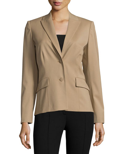 Rhonda Two-Button Fitted Jacket, Chai