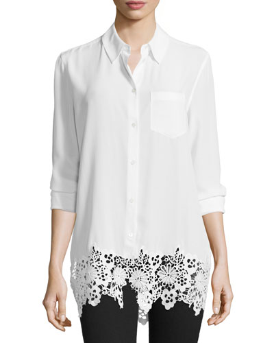 Reese Button-Front Lace-Hem Blouse, Bright White
