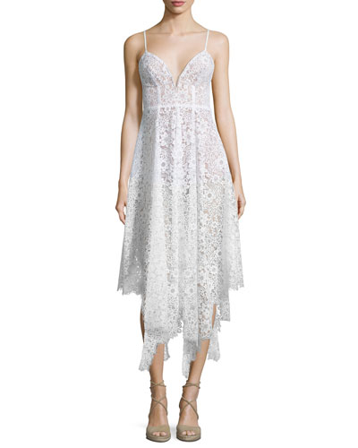 Rosemary Asymmetric-Hem Lace Dress, Ivory