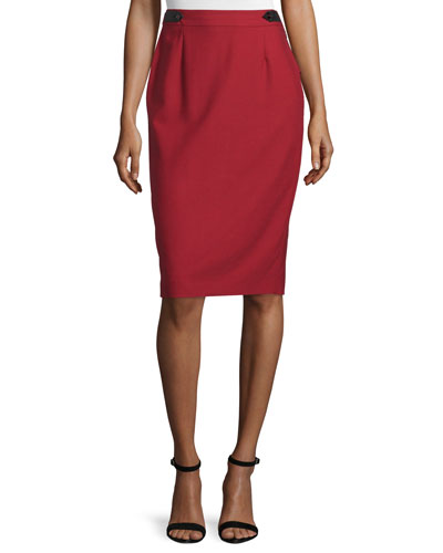 High-Waist Pencil Skirt, Red
