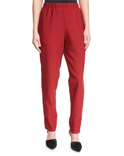 Elastic-Waist Slim-Leg Trousers, Red
