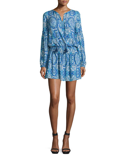 Maeve Long-Sleeve Printed Dress, Glacius Brocatto
