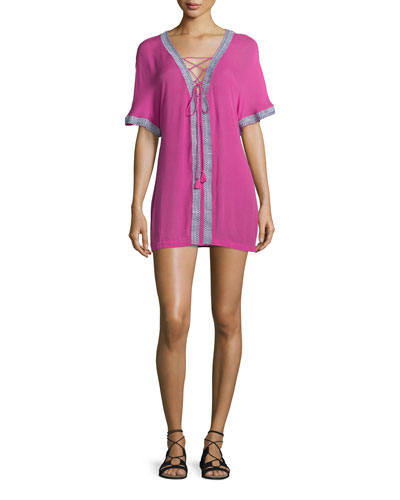 Xico Short-Sleeve Lace-Up Shirtdress, Fuchsia