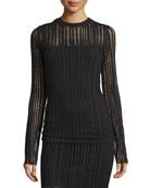 Jacquard Long-Sleeve Top, Black