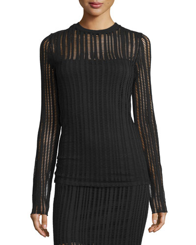 Jacquard Long-Sleeve Top, Black