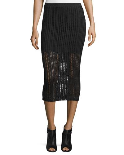 Jacquard Midi Skirt, Black