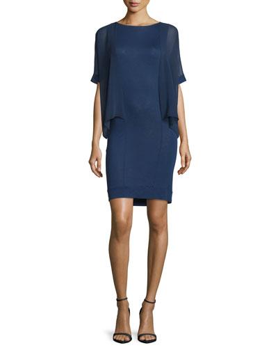 Half-Sleeve Sheath Dress, Indigo