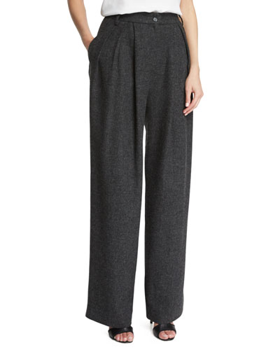 High-Waist Wide-Leg Trousers, Dark Gray
