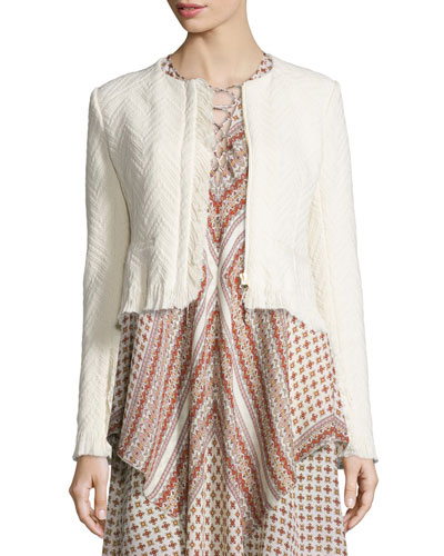 Chevron Fringe Cropped Jacket, Cream