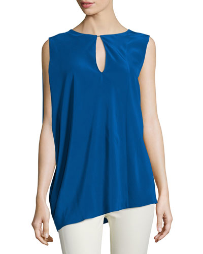 Sleeveless Keyhole-Front Top, Blue