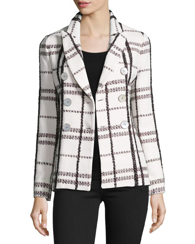 Plaid Double-Breasted Jacket, Cream/Multicolor