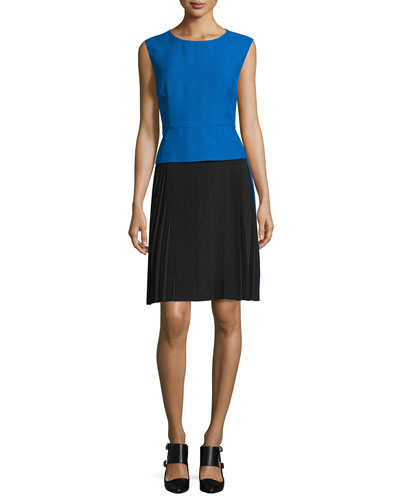 Sleeveless Colorblock Sheath Dress, Blue