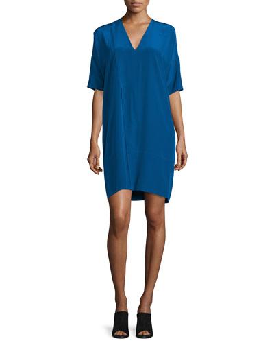 Half-Sleeve V-Neck Shift Dress, Blue