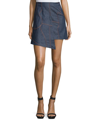 Asymmetric-Hem Denim Skirt, Blue Denim