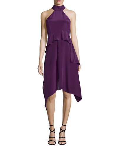 Halter-Neck Tiered A-Line Dress, Purple