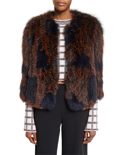 Patterned Fox Fur Coat, Midnight/Multicolor