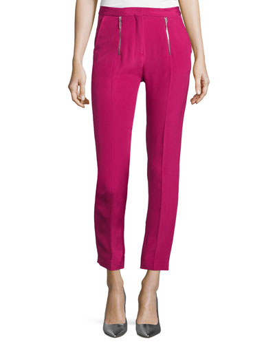 Zip-Front Slim-Leg Cropped Trousers, Pink