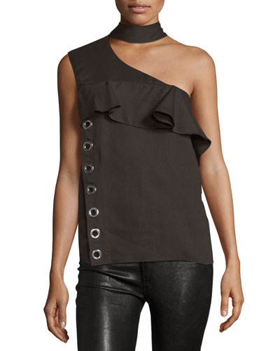 Mock-Neck One-Shoulder Top, Cocoa