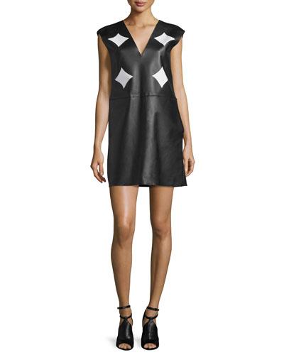 V-Neck Combo Shift Dress, Black/White