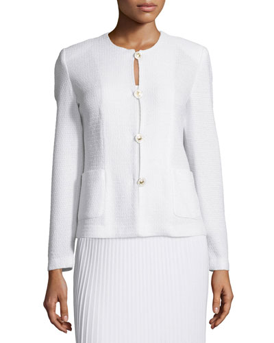 Button-Front Textured Jacket, Petite