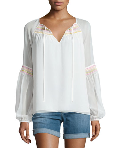 Sammy Embroidered Long-Sleeve Silk Top, Ivory