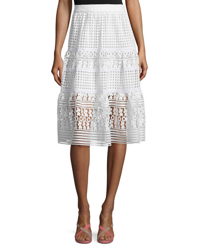 Tiana Tiered Lace A-Line Skirt, White