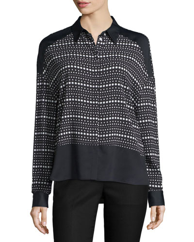 Long-Sleeve Dot-Striped Shirt, Black/White