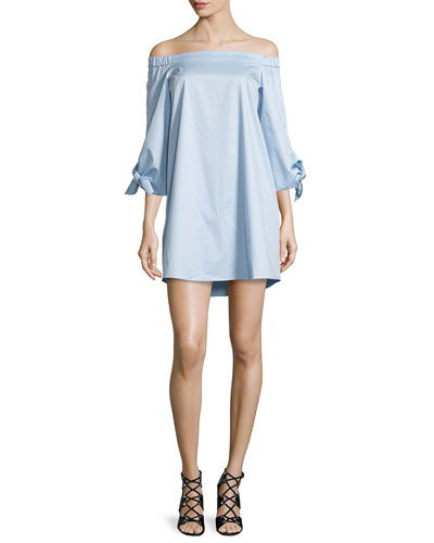Off-the-Shoulder Poplin Shift Dress, Morning Blue