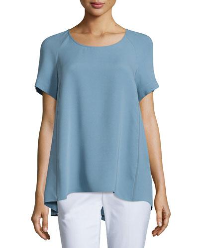 Kate Short-Sleeve Silk Blouse, Plus Size, Portofino