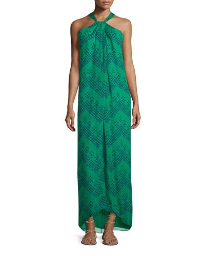 Lilita Chevron Dots Silk Gown, Green