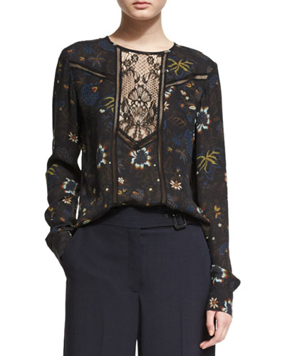 Noemi Long-Sleeve Floral Silk Top, Black/Multicolor