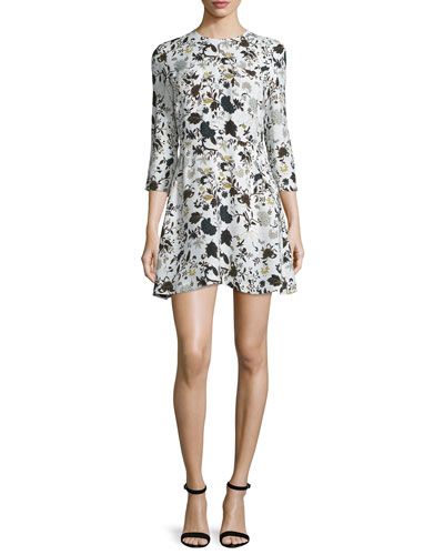 Terry 3/4-Sleeve Floral Silk Dress, Eggshell/Black/Blue