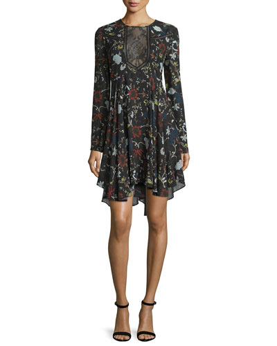 Cynthia Long-Sleeve Floral Silk A-Line Dress, Black/Multicolor