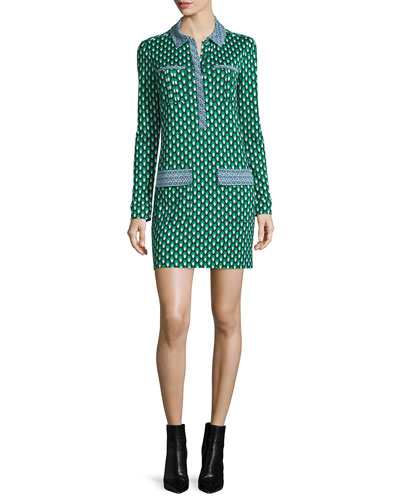 Denny Long-Sleeve Square Stamps Silk Dress, Green