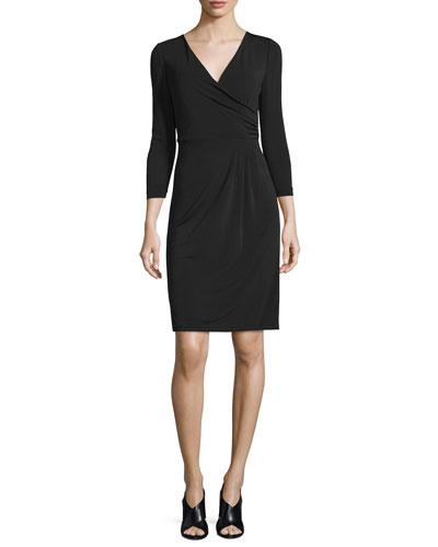 Calista 3/4-Sleeve Sheath Dress, Black